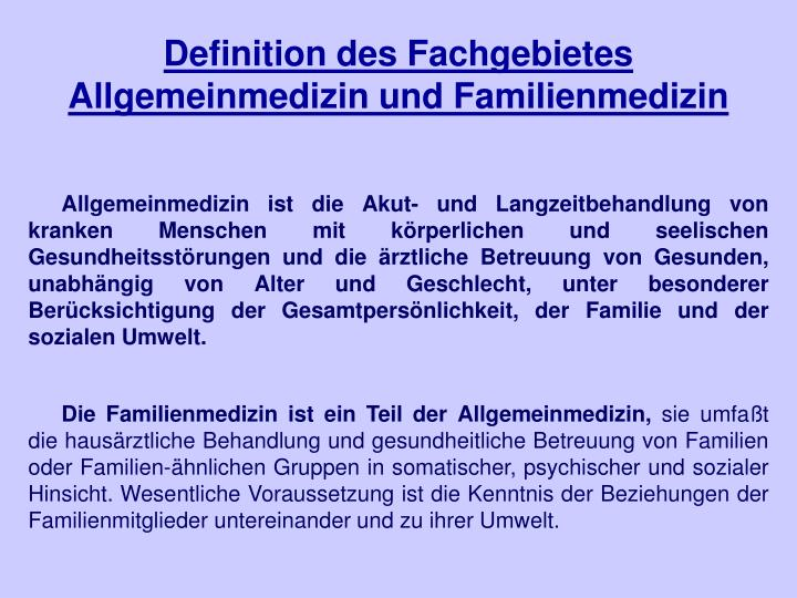 Definition des fachgebietes allgemeinmedizin und familienmedizin