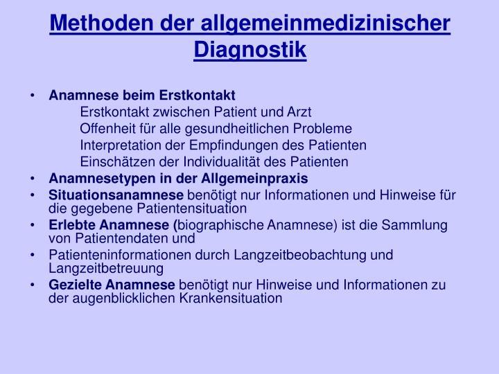 Methoden der allgemeinmedizinischer Diagnostik