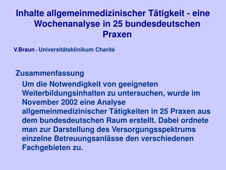 Inhalte allgemeinmedizinischer Tätigkeit - eine Wochenanalyse in 25 bundesdeutschen Praxen