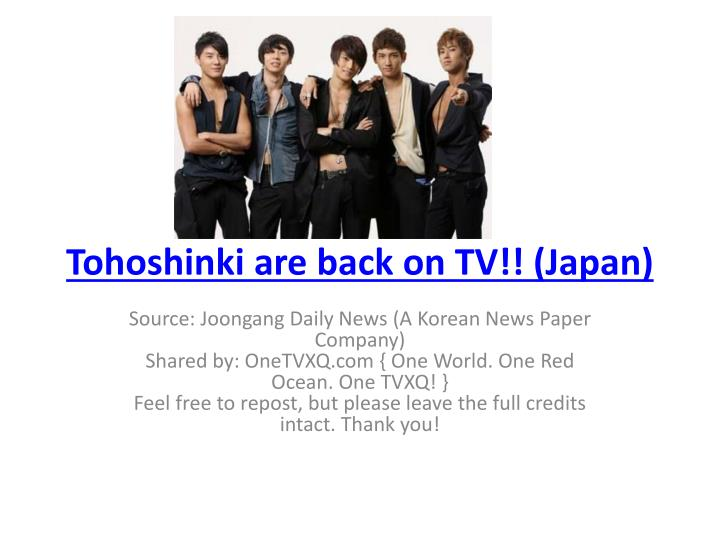 tohoshinki are back on tv japan n.