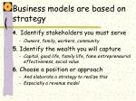 business models are based on strategy