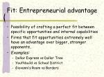 fit entrepreneurial advantage