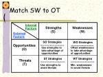 match sw to ot