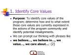 1 identify core values