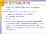 new equity issues and price