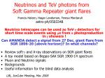 neutrinos and tev photons from soft gamma repeater giant flares