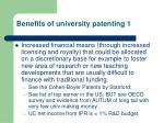 benefits of university patenting 1