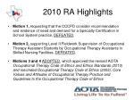 2010 ra highlights