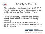 activity of the ra