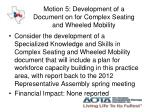motion 5 development of a document on for complex seating and wheeled mobility