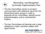 nominating and recognition committee implementation plan