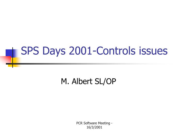 sps days 2001 controls issues n.