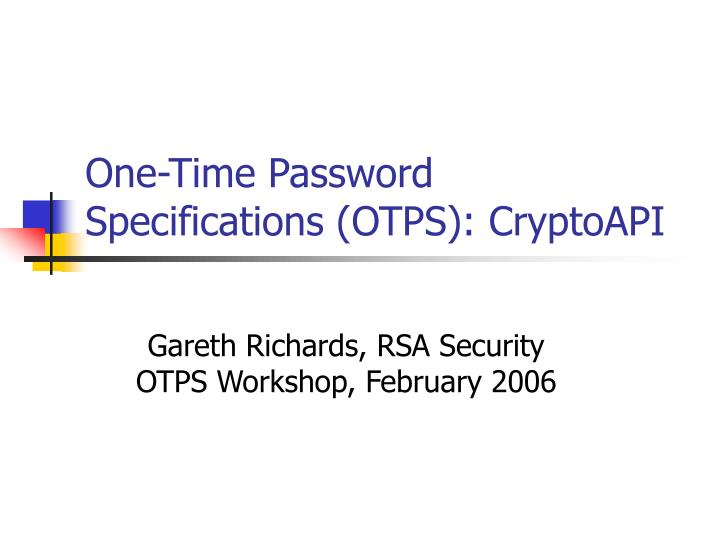 one time password specifications otps cryptoapi n.