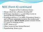 noc form k continued