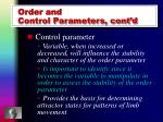 order and control parameters cont d