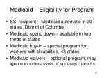 medicaid eligibility for program