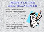 priority list for selecting a vendor