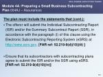 module 4a preparing a small business subcontracting plan 004aj assurances