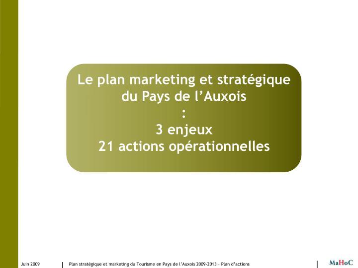 Le plan marketing et stratégique du Pays de l'Auxois