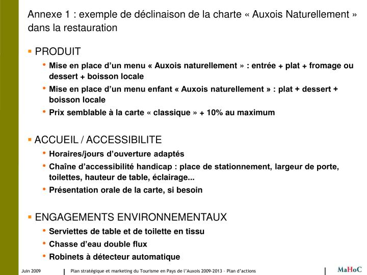 Annexe 1 : exemple de déclinaison de la charte « Auxois Naturellement » dans la restauration