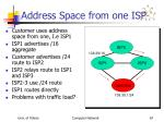 address space from one isp