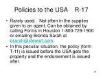 policies to the usa r 17