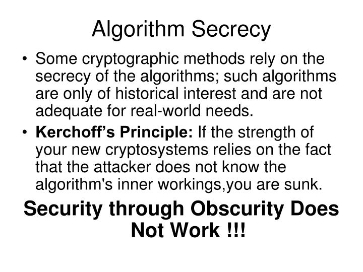 Algorithm Secrecy