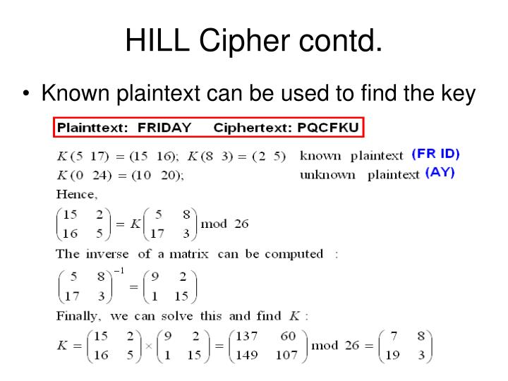 HILL Cipher contd.