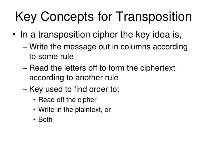 Key Concepts for Transposition