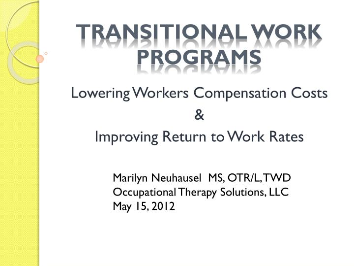 transitional work programs n.