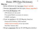 demo ppi data dictionary tentative