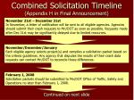 combined solicitation timeline appendix h in final announcement