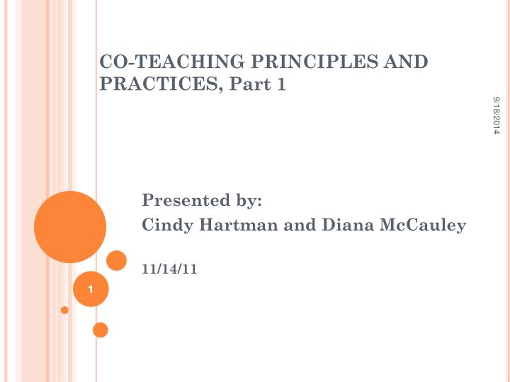 co teaching principles and practices part 1 n.