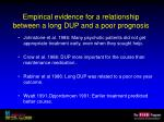 empirical evidence for a relationship between a long dup and a poor prognosis