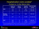 hospitalization costs avoided portland vs 3 other maine cities