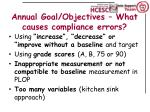 annual goal objectives what causes compliance errors