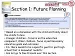 section 1 future planning