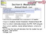 section 6 measurable annual goal cont
