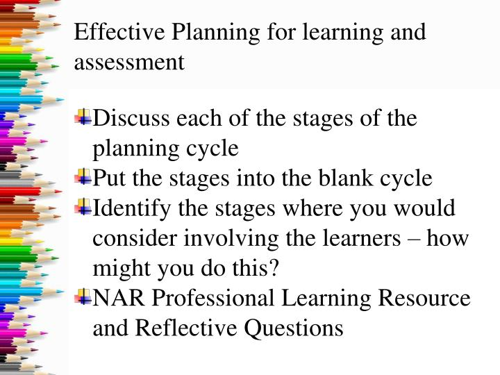 Effective planning for learning and assessment