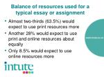 balance of resources used for a typical essay or assignment