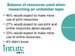 balance of resources used when researching an unfamiliar topic