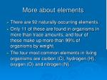 more about elements