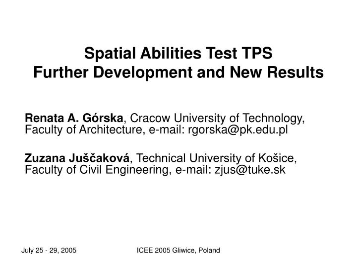 spatial abilities test tps further development and new results n.