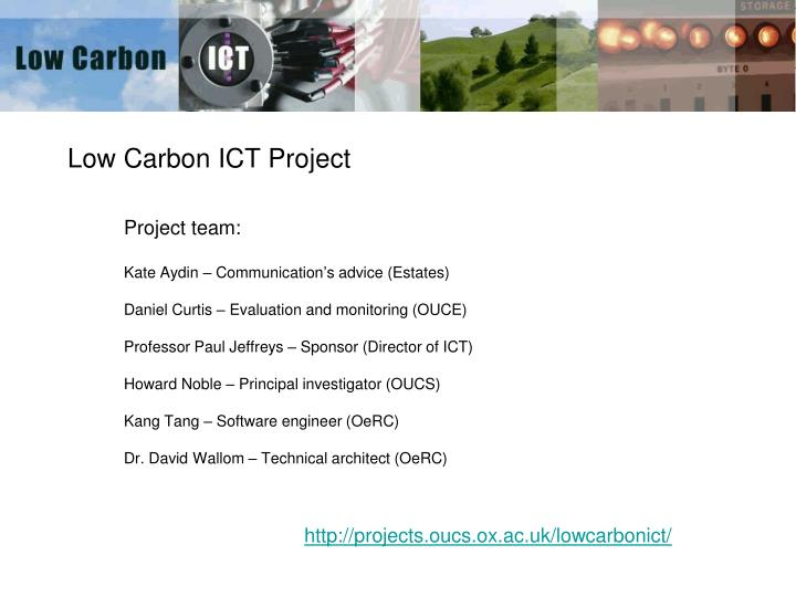 low carbon ict project n.