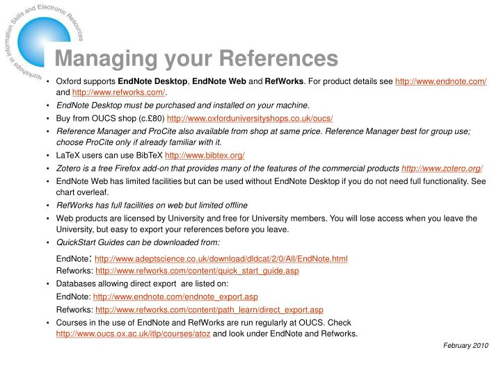 managing your references n.