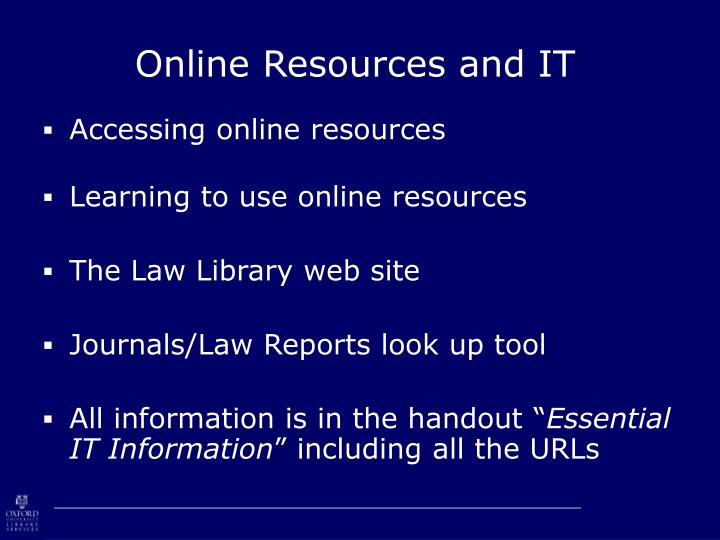 online resources and it n.