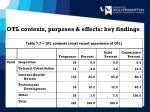 otl contexts purposes effects key findings