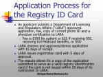 application process for the registry id card