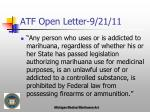 atf open letter 9 21 11