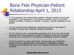bona fide physician patient relationship april 1 2013